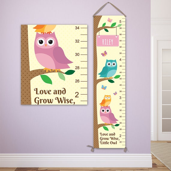 Owl Growth Chart - Personalized Canvas Growth Chart, Owl Nursery Decor, Owl Height Chart, Owl Baby Art, Personalized Toddler Gift - GC4000Y
