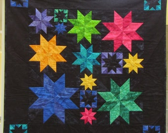 """Rainbow Lemoyne Star Quilt - Baby size or wall quilt - 37"""" square"""