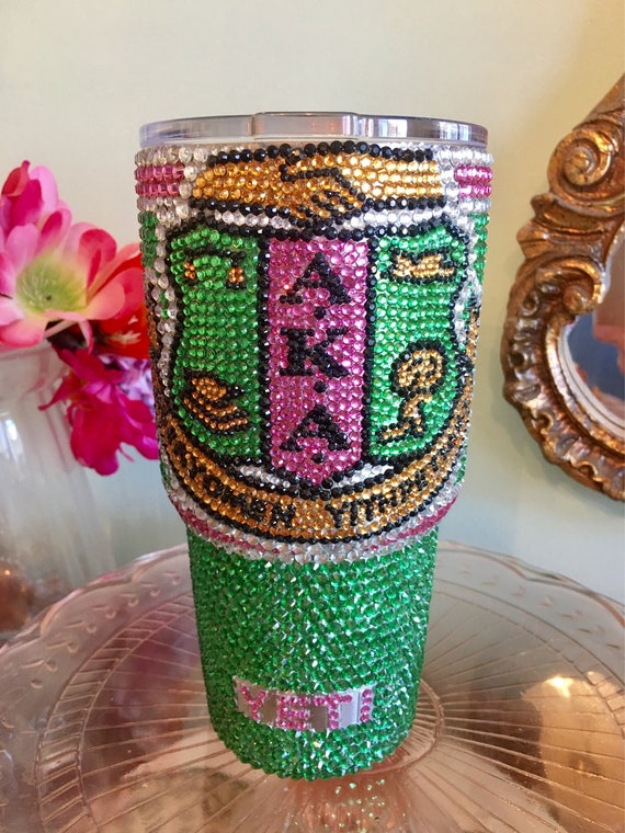 Rhinestone Yeti Rambler 30oz with Rhinestone Sorority Logo
