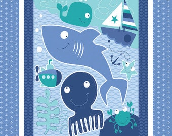 Nursery Seawater Friends Fabric Panel From Springs Creative