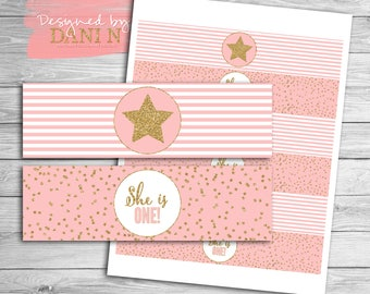 Twinkle twinkle birthday water bottle label, glitter birthday label, printable party coordinate, twinkle twinkle little star, pink and gold