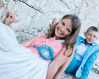 Wedding girl dress in blue color witch coral, flower girl dress collection of Joanna color turquoise and coral