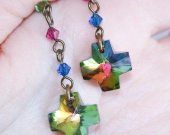 Crystal Rainbow Cross Dangle Earrings
