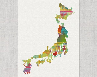 Japan Love - Colorful Watercolor Style Wall Art Print & Home Country Map Artwork - Travel, Moving, Engagement, Wedding, Honeymoon Gift