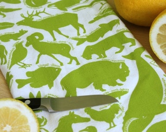 Kitchen Towel, animal tea towel, screen printed tea towel, kitchen gifts, state animals, 50 State Animals - Bright Green dish towel