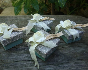 "wedding favor gift boxes 2""x2"" Bridesmaid gifts A Special Day shabby chic silver and blue gift wrap mini paper mache boxes party supplies"