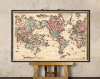 World map art etsy world map art fine print wall map reproduction map of the world for gumiabroncs Choice Image