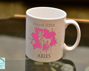 ARIES Sign of the Zodiac Astrology Sublimation Mug Horoscope Birthday Gift Add a Name and Choose From Fifteen Main Graphic Colours.