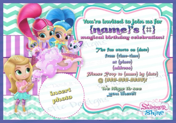 Print at home shimmer and shine birthday party invitations print at home shimmer and shine birthday party invitations with picture very colorful a7 stopboris