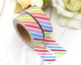 Washi Tape - Rainbow Striped Washi - Rainbow washi Tape - Paper Tape - Planner Washi Tape - Washi - Decorative Tape - Deco Paper Tape