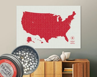Vintage Push Pin USA Map (Siren) Travel Map Push Pin Map Gift Road Trip Map of the USA on Canvas Personalized Gift For Family Name Sign