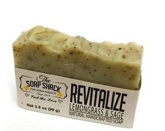 Lemongrass Sage Olive Oil Soap Bar – Revitalize! from The Soap Shack