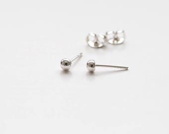 Sterling silver ball studs, sterling silver pebble studs, small sterling silver stud earrings.