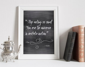 spiritual wall art printable art Rumi quote, chalkboard quote Printable Wall art typography quote Instant download quote print printable Art