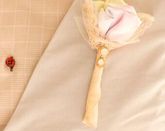 Rainbow pastel vintage boutonniere - groom accessory - vintage rainbow wedding