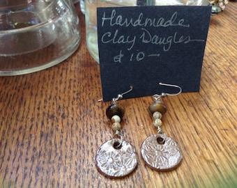 Handmade beaded and paperclay earrings