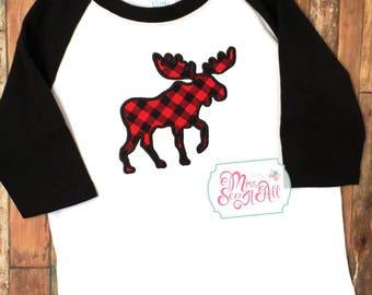 Moose Shirt, Boys Moose Raglan, Boys Moose Shirt, Plaid Moose Shirt