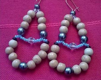 Wood and glass Pearl Earrings
