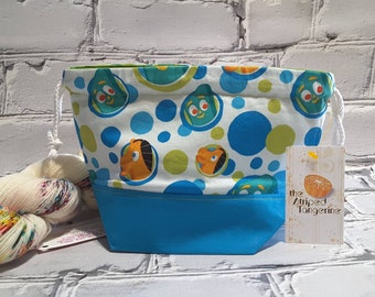 Small Drawstring Project Bag- Gumby & Pokey - Knitting- Crochet- Needlearts- Crafting- Artist