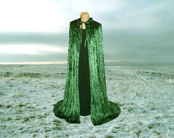 Cape Cloak Hunter Green Hooded  Velvet Renaissance Medieval Costume Wedding