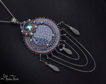 "Beadwork pendant ""Purple nebula"" Bead embroidery pendant Pendant with Swarovski crystals Beaded pendant Unusual pendant Violet Blue Pink"