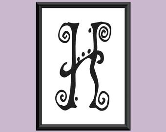Typography Digital Print Monogram Initial Wall Art SpaGirl Letter H