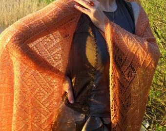 Beaded Hand Knit Amber Orange Lace Shawl.