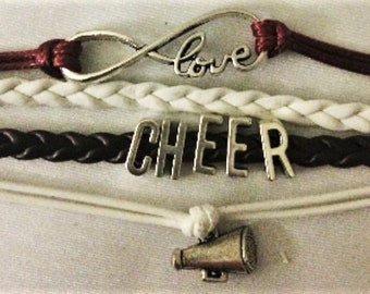 Infinity Bracelet Cheer Leather Charm GIFT Birthday Party Favors Coach Cheerleading Cheerleader Lobster Clasp Red White Maroon Megaphone
