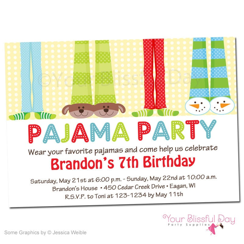 Boy Pajama Party Printable Invitations 563 Personalized Boy