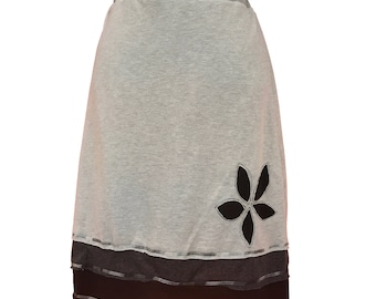 Layered T-Skirt | upcycled, recycled gray t-shirt skirt with reverse flower appliqué in grays and black