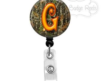 Badge Holder - Orange Camo Badge Reel - Masculine Badge Holder - Retractable Badge Reel - Initial Badge Reel 0006