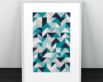 Geometric Print, Abstract print, Poster, Triangles print, Scandinavian print, Wall print, Abstract, Wall art, Home decor, Geometric art