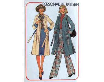 Coat, Pattern, Skirt, Bell Bottoms Pants, Size 12, Size 14, Simplicity 7668, UNCUT, Seventies Pattern A-line Skirt