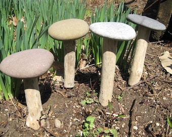 FAIRY GARDEN MUSHROOM Driftwood Stone Yard Art Garden Decor Ornament
