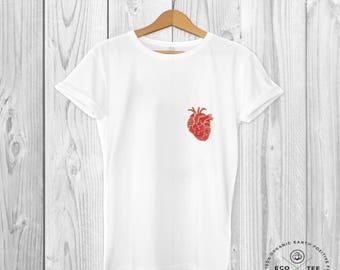 Heart T-shirt, pocket tee, white graphic t-shirt, unisex t-shirt, vegan clothing, fair trade clothing, organic top