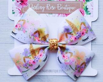 "Unicorn theme pink and gold rainbow unicorn horn hair bow 4"" wide - pink unicorn - purple - unicorn birthday"
