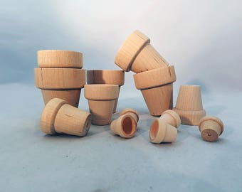 Unfinished & Natural Wooden Flower Pots