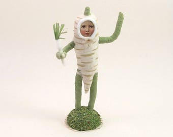 READY TO SHIP Vintage Inspired Spun Cotton Parsnip Child Figure Or Ornament