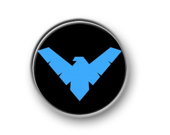 "NIGHTWING / 1"" / 25mm / pin button / badge / DC Comics / Dark Knight / Batman / Joker / Superman / Gotham City / Justice League / film"