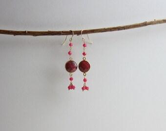 Ruby 24K Gold Plated Dangle Earrings