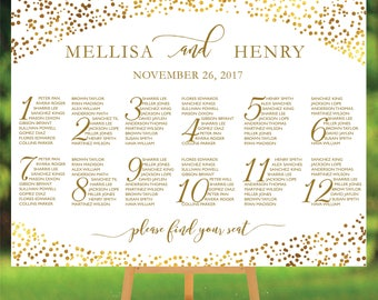 PRINTABLE Wedding seating chart Template, Gold Dots Confetti with alphabetical, Table plans seating assignment WDC568