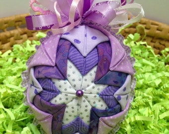 Folded Fabric Ornament, Quilted Holiday Ornament, Purple, Lavender, Full Bow for Easter Decoration, Christmas Tree, Handmade, Gifts Under 20