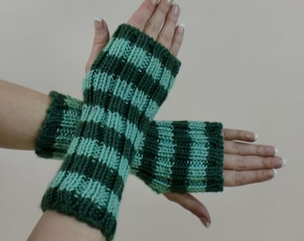 Green Fingerless Gloves - Striped Arm Sleeves - Gift for Her - Knit Half Finger Hobo Mittens -  Texting Arm Warmers - Sweater Gloves