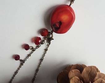 Pendulum Red Agate Necklace