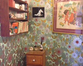 Vintage Wallpaper, 1970's floral metallic wallpaper, Boltatex full rolls, vintage wallpaper