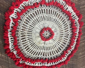 Vintage Crocheted Red Doily