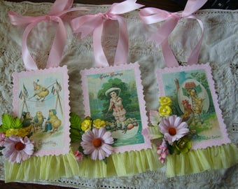 Victorian Easter postcard gift tags embellished paper art tags ornaments party favors gift wrap Shabby Chic package ties