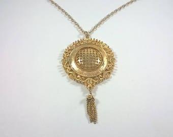 Vintage  Gold Medallion Necklace  - Large Round Tassle  Pendant Retro Jewelry 1960s
