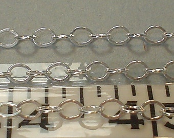 sterling silver flat cable chain 4mm link\/\/2 ft