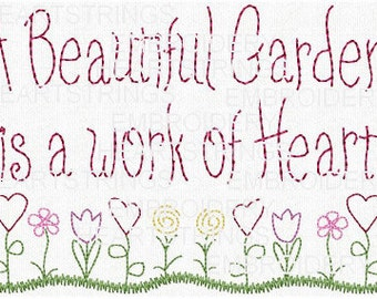 A Beautiful Garden Is A Work of Heart Hand Stitchery Embroidery Pattern Doodle EPattern Design